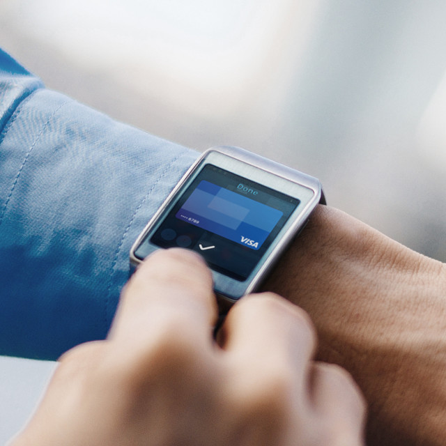 close up of a smart watch on a wrist