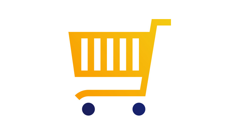 Yellow shopping cart with blue wheels.