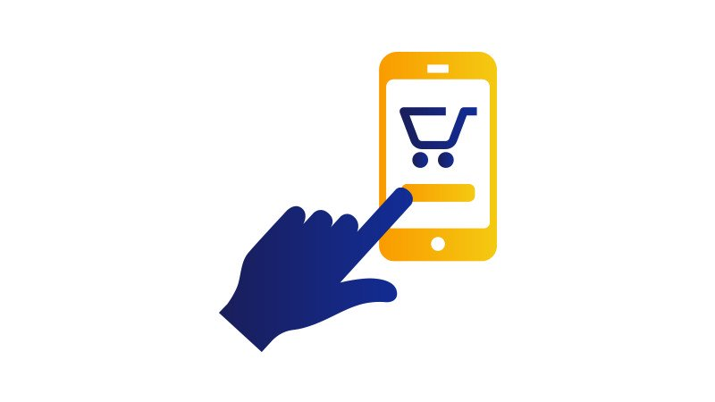A finger poised to click the shopping cart button on a mobile phone.
